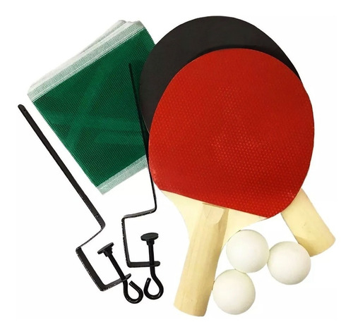 Ping Pong Set De 2 Paletas + 3 Pelotas + Red +  Soportes