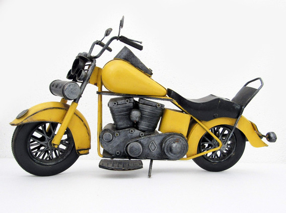 Antiguidade Antiga Miniatura De Moto Em Lata Harley Davidson