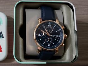 Relógio Fossil Like Style Bq1704 Original Couro Azul Dourado