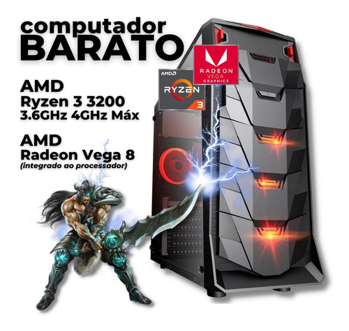 Imagem 1 de 5 de Pc Gamer Barato Amd Ryzen 3 3200g 16gb Ssd240gb Radeon Vega8