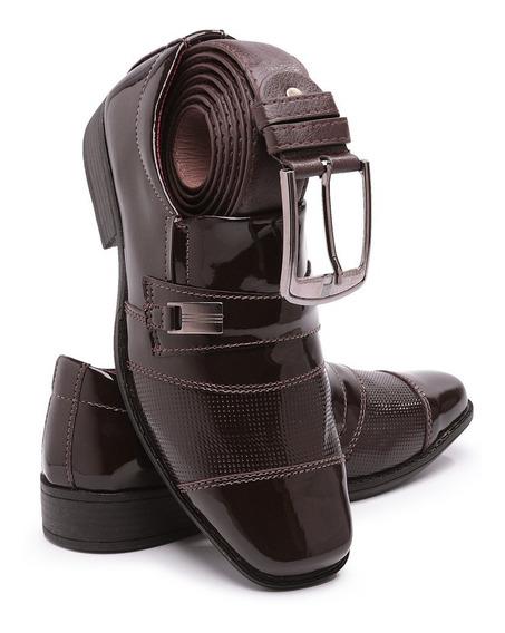 Sapato Social Infantil Uniforme Promocao 444 Verniz + Cinto