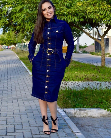 Vestido Jeans Midi Manga Longa Moda Evangélica