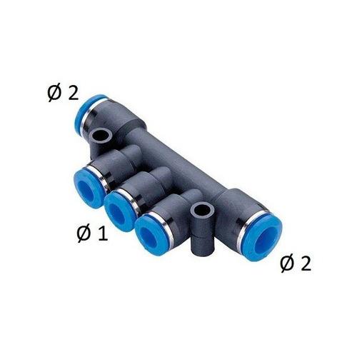 Imagem 1 de 2 de Conexão Distribuidor Igual 4 Saídas Tubo 08mm - Kit 10 Pçs