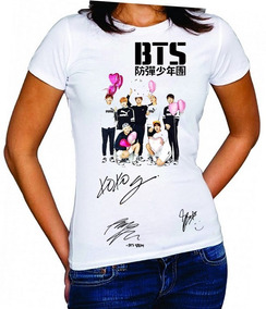 Camisetas Bts Coração Autografo Baby Look Kpop Bangtan Boys