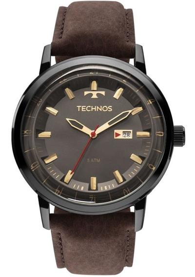Relógio Masculino Technos Golf 46mm Marrom + Carteira Brinde