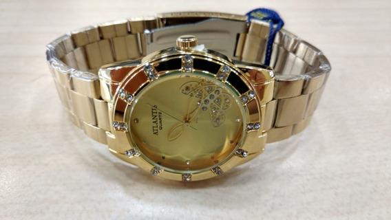 Relógio Atlantis Dourado Feminino Luxo Original Lançamento.