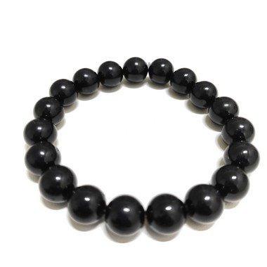 Pulseira Pedra Masculina Elegante Turmalina Negra 10mm 1036