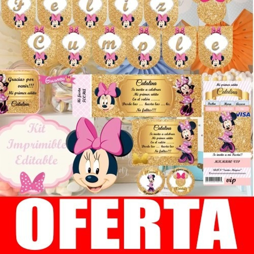 Kit Imprimible Minnie Rosa Dorado Candy Bar Golosinas Edita