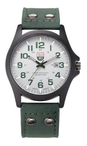 Relógio Military Soki Suíço Army Pulseira Couro Verde Sk079
