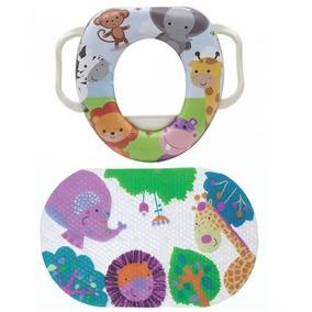Tapete Antiderrapante Para Banho + Assento Redutor Infantil