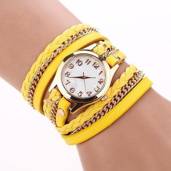 Relógio Fem. Quartz Pulseira Tripla Amarelo + Brinde