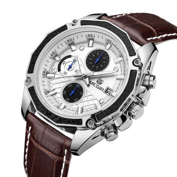 Megir Cuero Correa Hombre Reloj De Pulsera Impresionante