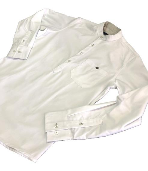 Oferta Camisa Blanca Cuello Mao Corte T/playera Marca Polo