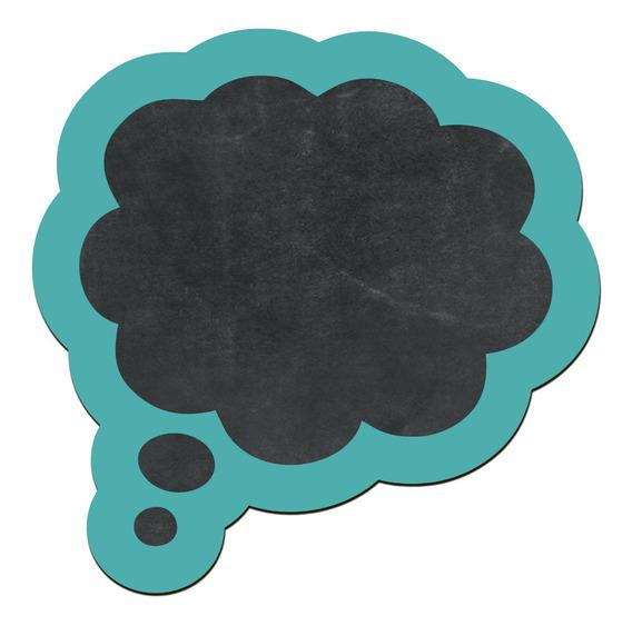 Pizarra Decorativa Nube Pensamiento Verde Turquesa 27x28