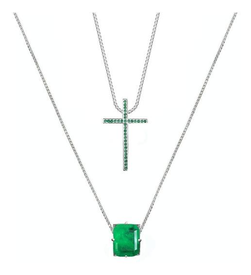 Escapulário Cruz Esmeralda - Prata 925