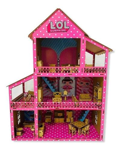 Casa De Boneca Infantil Polly Babie Lol Com 37 Moveis De Mdf