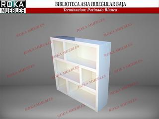 Biblioteca Asia Irregular Baja Pino 1.00x0.25x1.00 Patinado