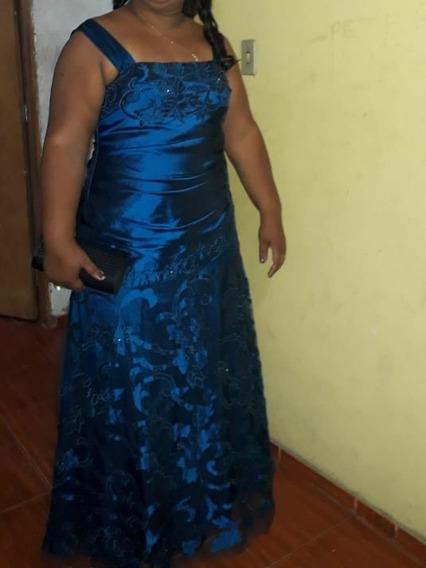 Vestido De Festa Azul Caneta Número 50