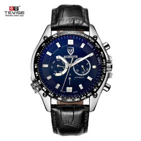 Relógio Masculino Pulseira De Couro Tevise 671a Automático
