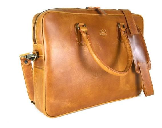 Portafolio Liso Laptop Ag Leather - 100% Piel Color Miel