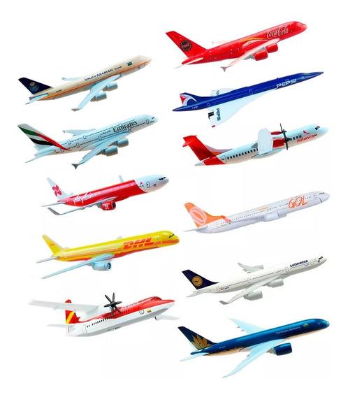 Miniaturas Aviões Metal Com Base Acrílico - Vários Modelos