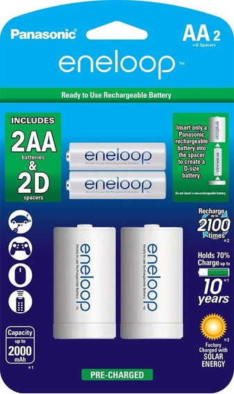 Panasonic Eneloop Aa Baterias Com Adptador Pilha D Original
