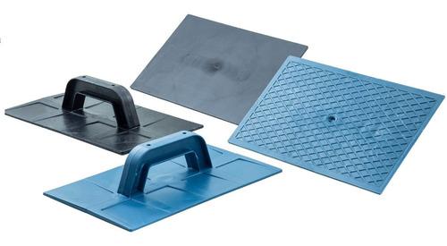 Imagem 1 de 9 de Kit 4 Unid Desempenadeira Lisa E Corrugada Azul P/ Massa