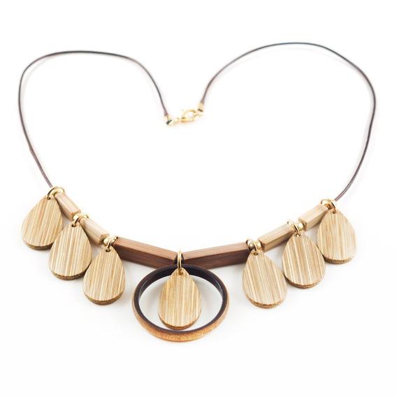 Angel - Colar Artesanal Em Bambu E Ouro - Biojoia