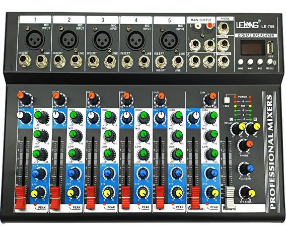Mesa Som Lelong 7 Canais Bluetooth Usb C/ Equalizador Le-709