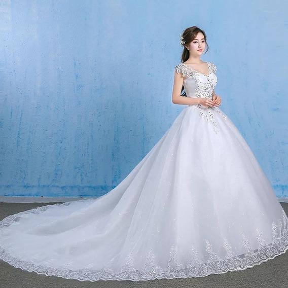 Vestido De Novia Con Cauda Larga Blanco Cristal Epcg01990wh