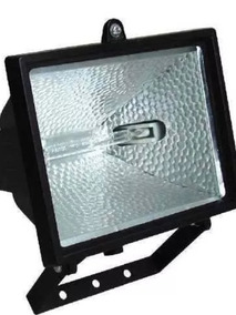 Refletor Retangular Para Lâmpada Halógena 150w Preto Externo