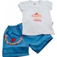 Conjunto Menina Cupcake Short E Blusinha Palminha Baby 033