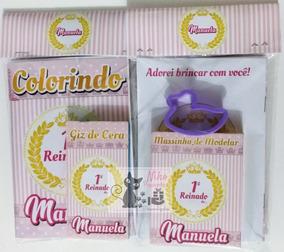 90 Kit Colorir Personalizado Massinha+ Giz De Cera +cortador