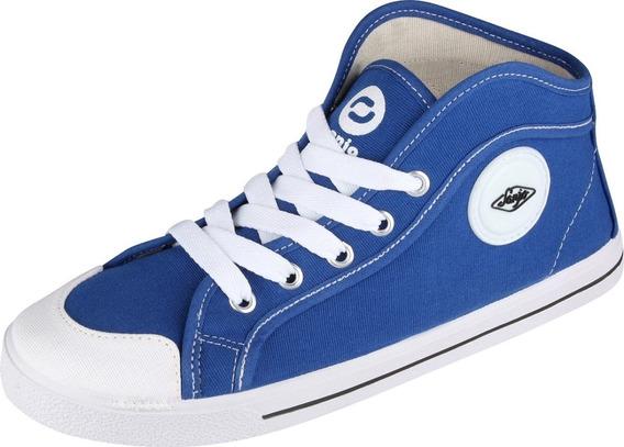 Tenis Cano Alto Azul Jeans Sola Branca Vulcanizado Botinha