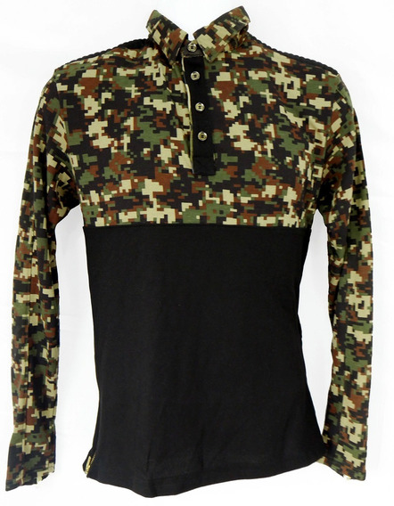 Camisa Polo Manga Larga Camuflage Casual Militar Fgo025