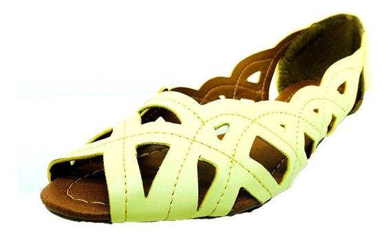 Sapatos Femininos Sapatilha Ponta Aberta Laser Dani K