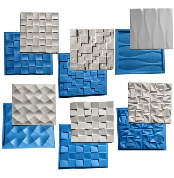 6 Formas De Gesso Cimento 3d Borracha E Plastico Molde 3d