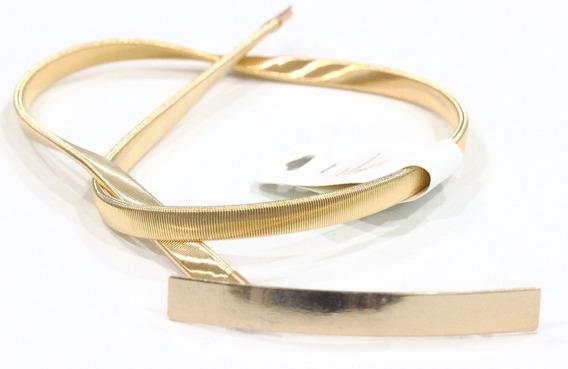 Cinto Feminino Elástico De Metal Dourado De Encaixe