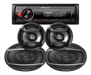Combo Stereo Pioneer 215 Bluetooth Usb + Parlantes 6x9 + 6,5