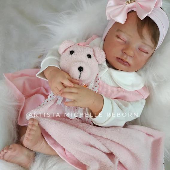 Bebê Reborn Jasmine Corpo Em Tecido E Olhos Fechados