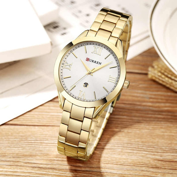Relógio Feminino Curren 9007 Gold Fundo Branco