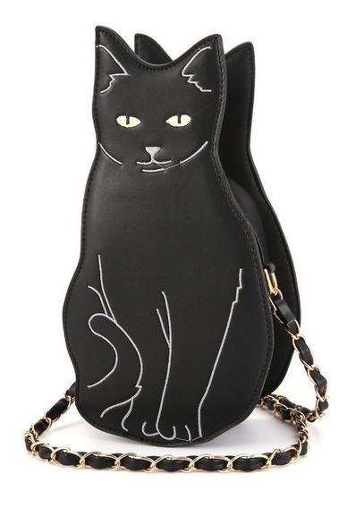 Bolsa Criativa Divertida Black Cat Gata Preta City Rock