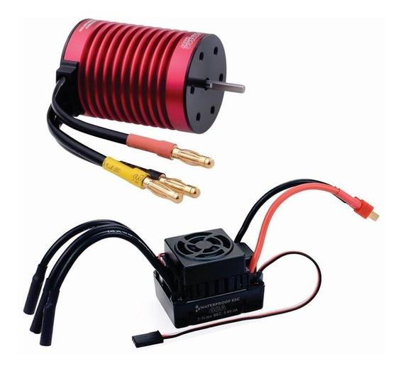 Motor Brushless 3000kv E.s.c. 60a 1/10 Radiocontrol Water P.