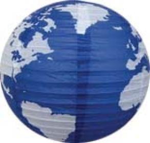 Cúpula Para Pendente Em Papel De Arroz Ø30cm Mapa Mundi Azul