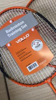 Kit Badminton Vollo 2 Raquetes E 1 Peteca De Nylon