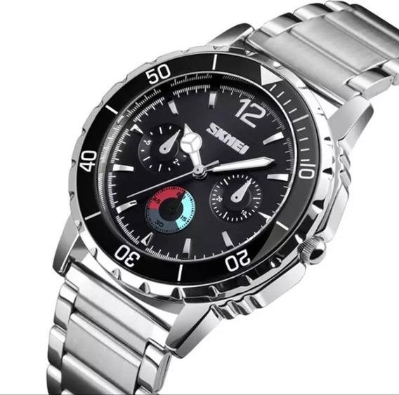 Relógio Masculino Skmei Original Pulseira Aço Luxo Casual Militar Esportivo Aço Racer Premium Analogico Promoçao 1482