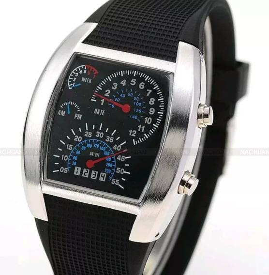 Relógio De Pulso Tunig Digital Preto Com Led Matrix Azul