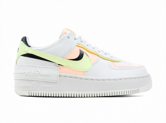 Nike Air Force 1 Shadow Summit White Barely Volt Crimson Tin