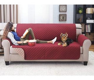 Cubre Sofa De 3 Cuerpo Burdeo ReversibleExelente Calidad