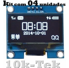 4x Display Oled 128x64 0.96 I2c Gráfico Arduino Azul Amarelo
